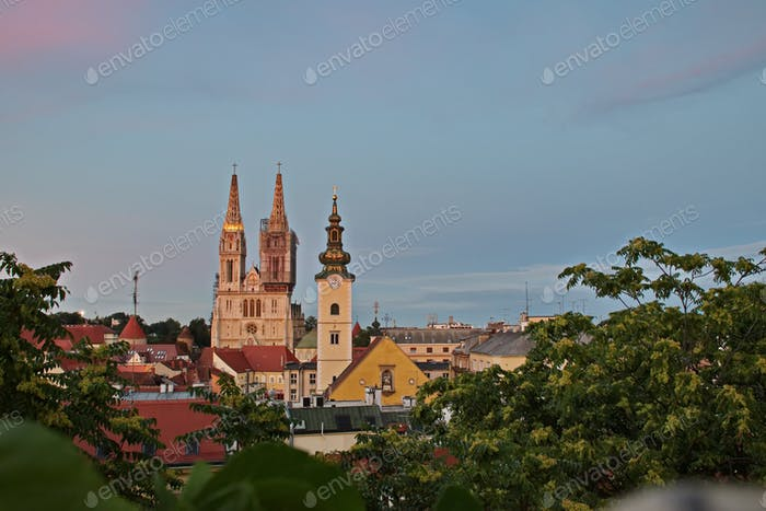 Cityscape of Zagreb during blue hour with Cathedral and rooftops