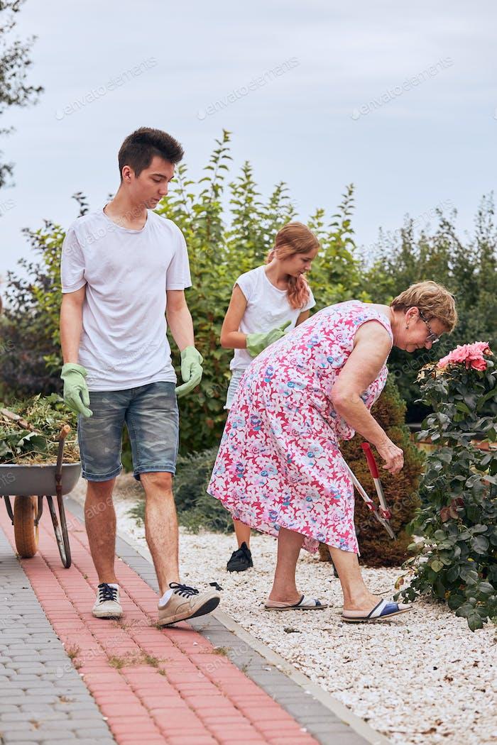 Grandchildren helping grandmother at a home garden