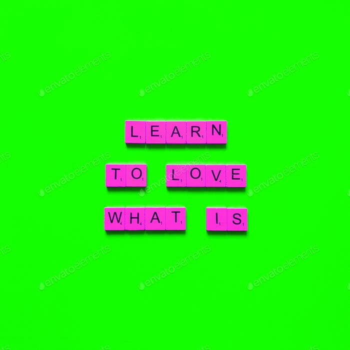 Learn to love what is.