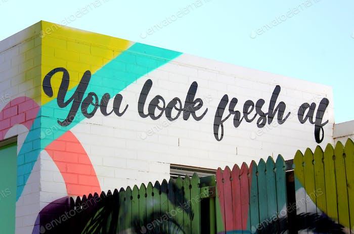 Mural de arte callejero colorido - You Look Fresh AF - Art by Drapl