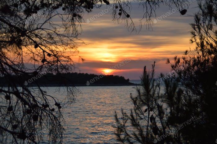 Scenic sunset on Adriatic sea