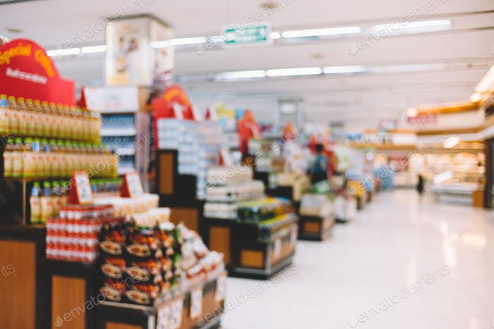 Blur background of supermarket in confectionery section