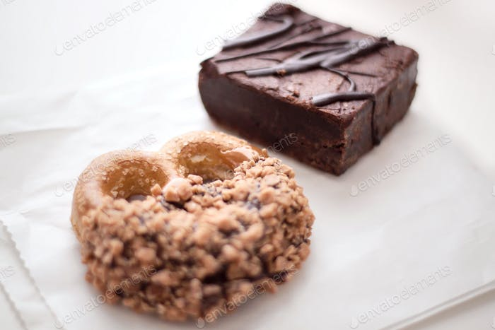 Baked goods of sweet and salty Pretzel and Brownies snacks