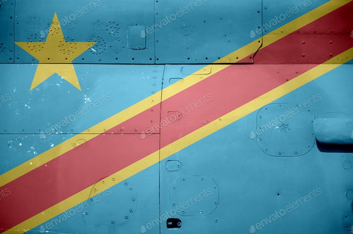Democratic Republic of the Congo flag depicted on side part of military armored helicopter close up
