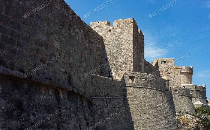 The walls of King's Landing from Game of Thrones. City walls of Dubrovnik, Croatia.