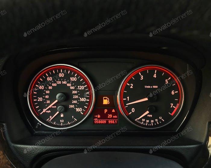 Car gas warning light on dashboard