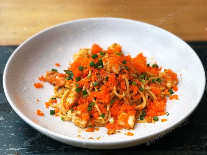 Shrimp and shrimp roe spaghetti 🍝 Fusion food