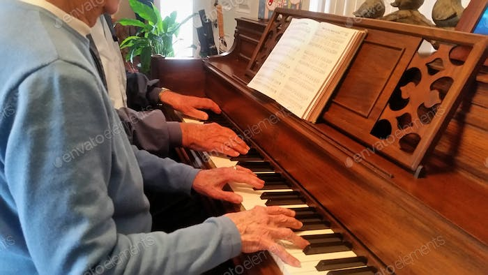 90 year old brother and sister making music together.