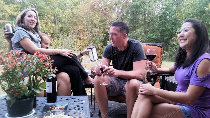 Millennials chilling out with wine...