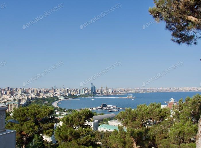 Baku harbor in summer time