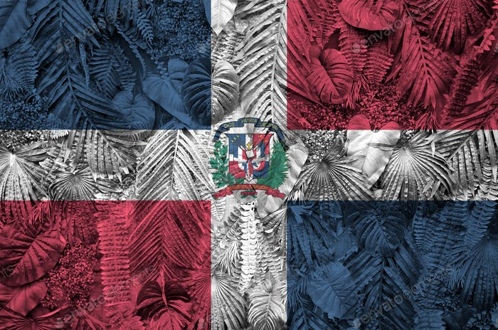Dominican Republic flag depicted on many leafs of monstera palm trees. Trendy fashionable background