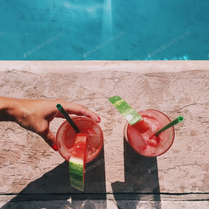Watermelon mojitos by the pool.