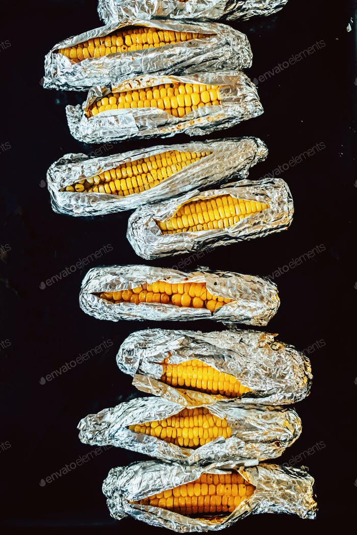 baked corns in foil