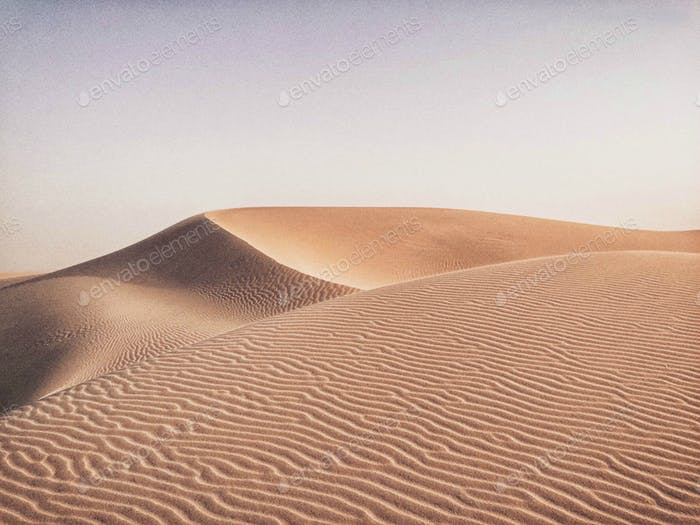 Beautiful desert sand dune in Qatar. Nature, sand, empty, Middle East, pattern, background,