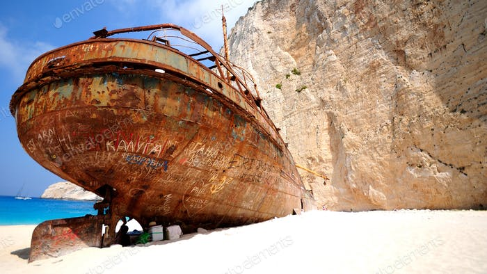 Navajo, Shipwreck beach at Zakynthos without people at the beach