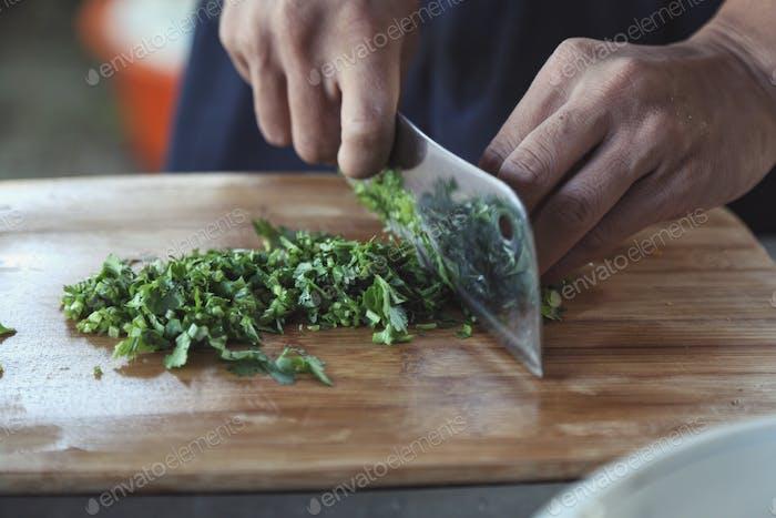 Chopping greenish