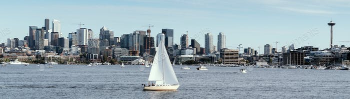 Panorama lake Union in Seattle with city skyline and sailboat