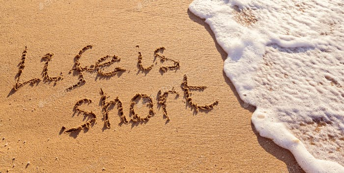 beach sand, sea wave, foam, word, motivational quote, message text, background, summer, life short,