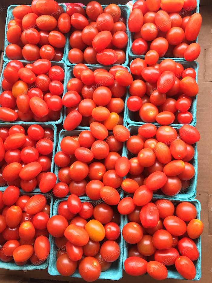 Bright and bold rows of fresh cherry tomatoes in Baskets at the local farmer's market