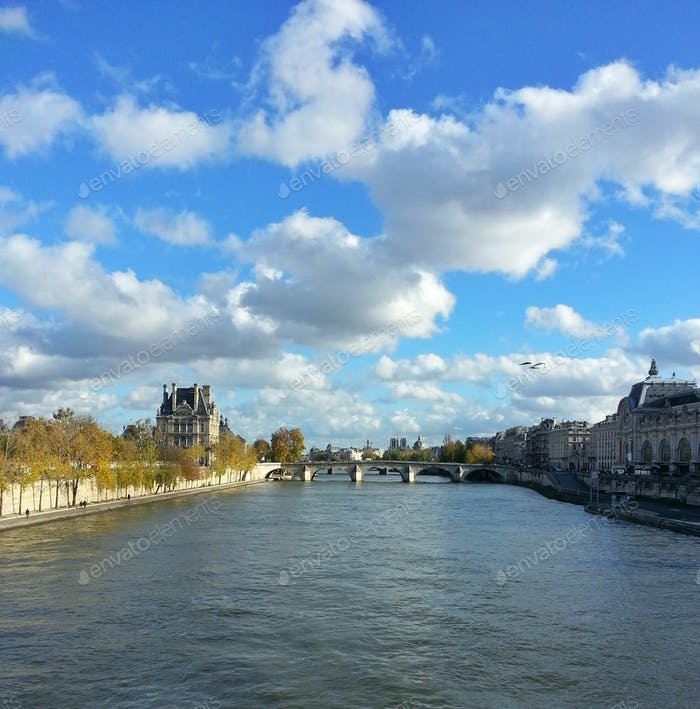 Paris, the Seine river at Fall, between the Louvre and the Orsay museums, cityscape, city view