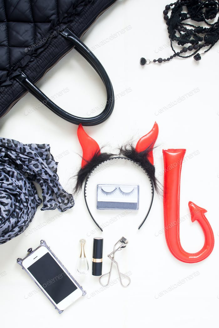 Flat lay photography with Halloween fashion accessories