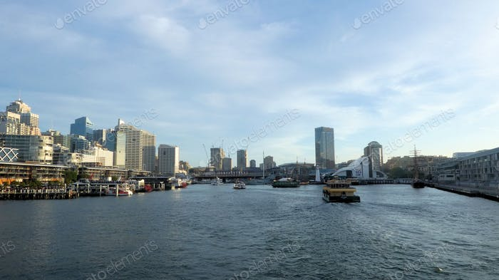 Water and city view of Darling Harbour in Sydney,Australia
