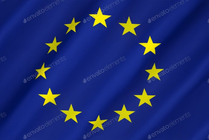 Flag of the European Union - an economic and political association of certain European countries as