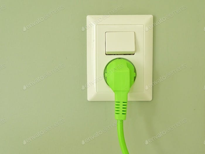 socket with green plug on green wall paper