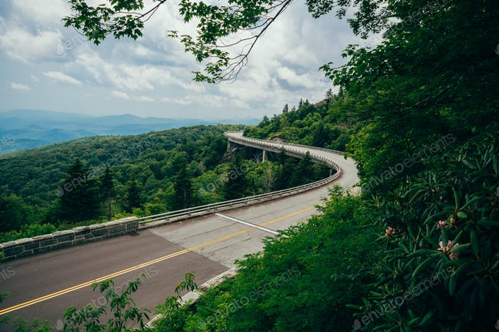 The famous winding stretch of road called Linn Cove Viaduct along the Blue Ridge Parkway in North