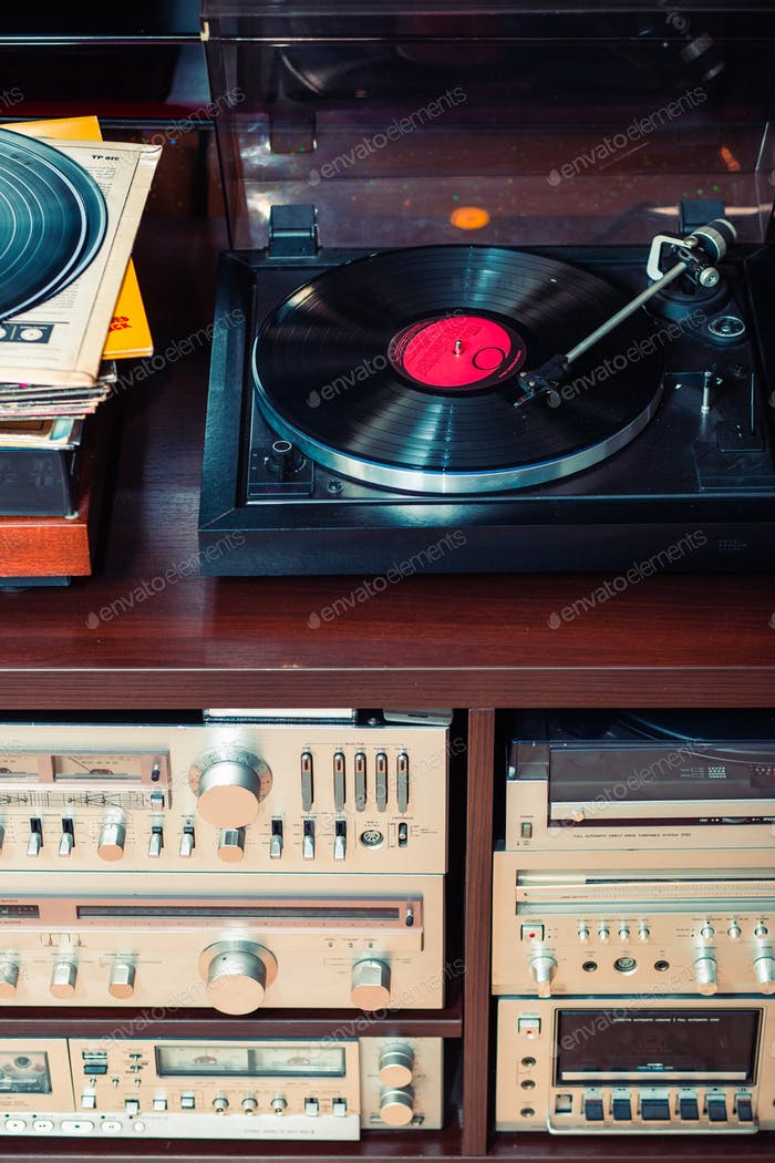 Set of audio equipment, record players, amplifiers, radio