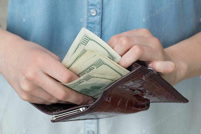 A girl with a wallet in her hands, business, savings, investment, paper, banking, financial, bank, h