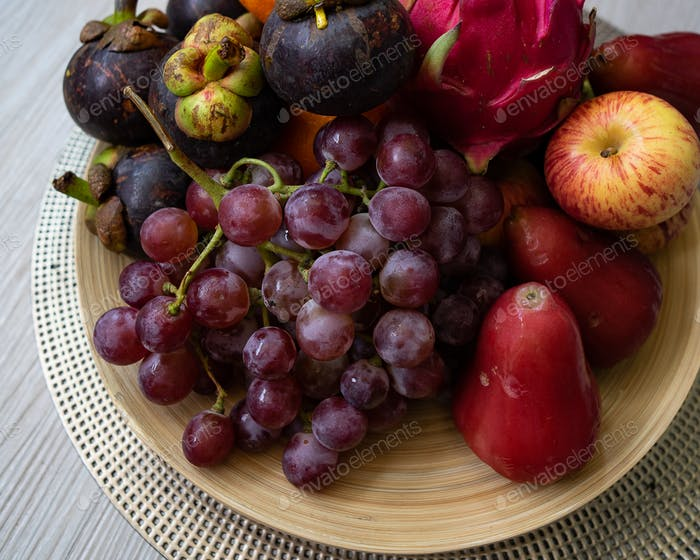 Fresh fruits. Assorted colourful tropical fruits. clean and healthy eating