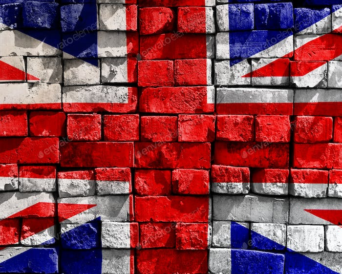Union Jack Flag on stone wall