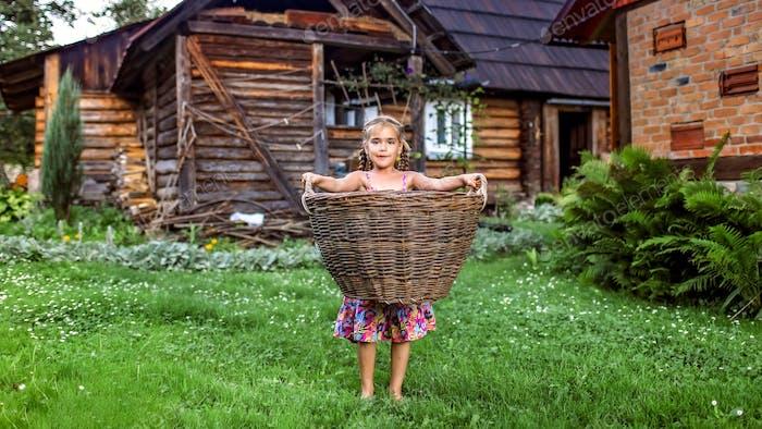 Linda niña que ayuda a llevar la cosecha en la vieja cesta de obstáculos en el patio trasero de la granja en el pueblo en