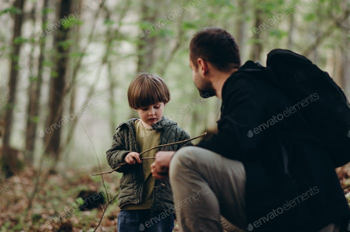 Father with son in the forest