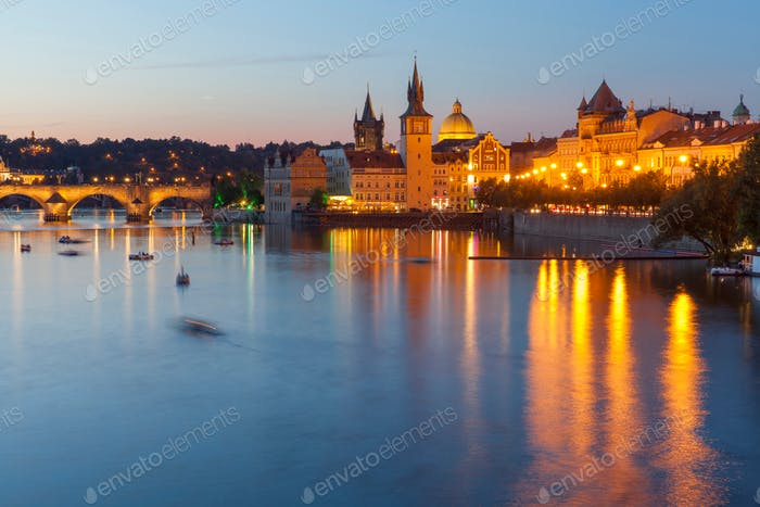 Blue hour in Prague, Czech Republic. View on the river.