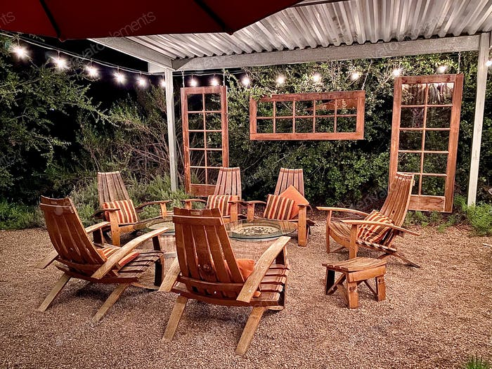Outdoor living spaces at night with lights