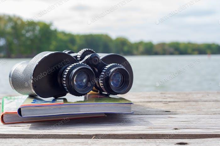 Ferngläser und Feldführer auf dem Pier am Fluss, die nach Wildtieren suchen