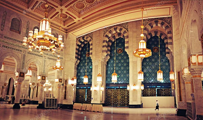 Lovely atmosphere in the new building at the Grand Mosque, Mecca, Saudi Arabia