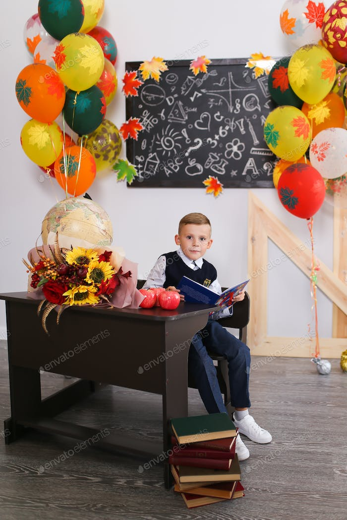 Schoolboy boy sitting at the school Desk, school, lessons, September 1, holiday, learn, education, s