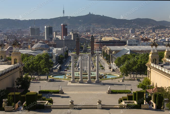 View from the National Palace in the city of Barcelona in the Catalonia region of Spain