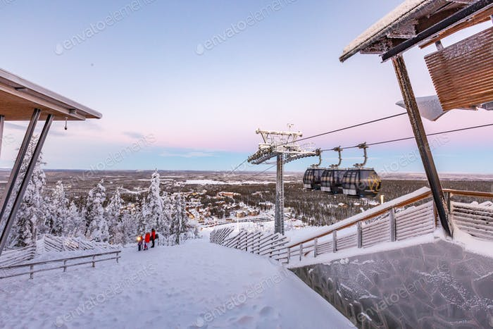 Winter ski resort Levi Lapland Finland