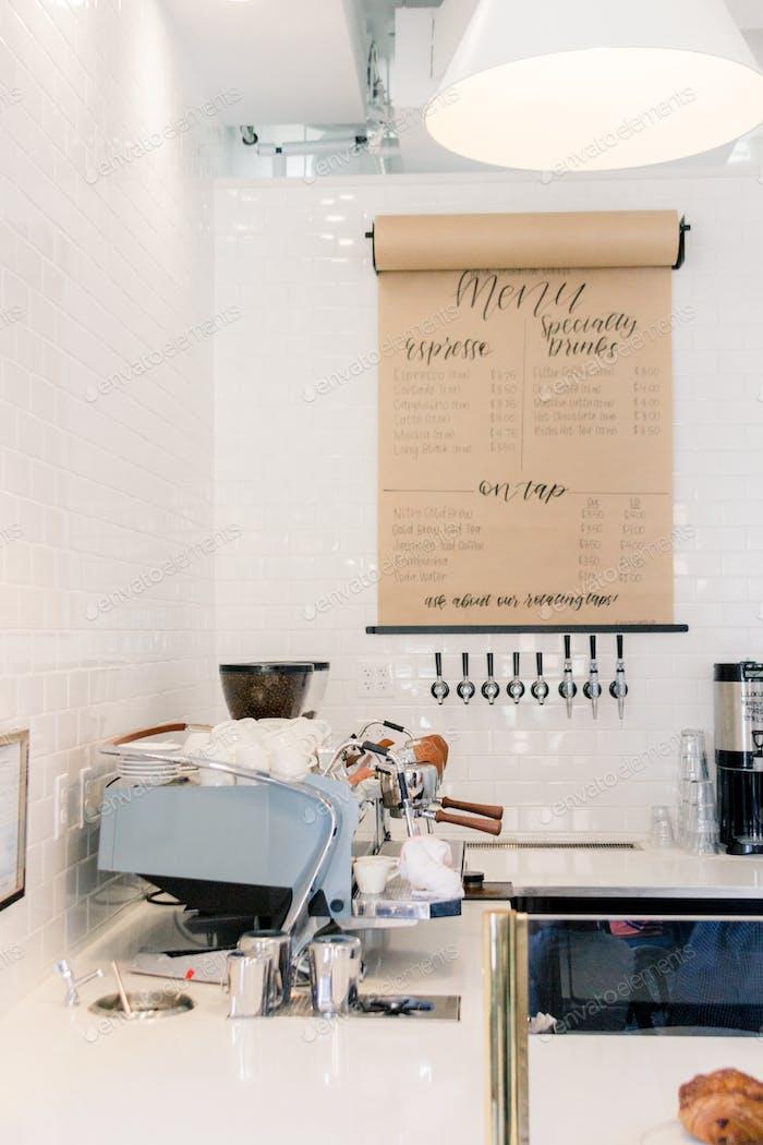 Espresso machine in modern coffeehouse