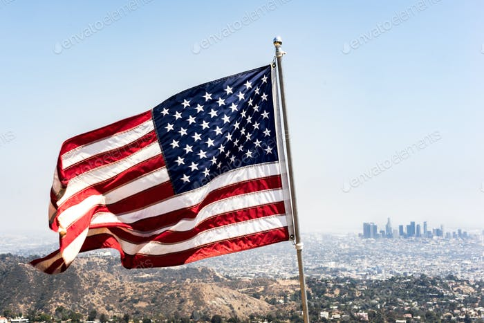 American Flag blowing in the wind at The Wisdom Tree in the Hollywood Hills.