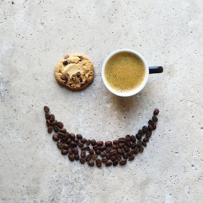 Creative coffee art on stone table,smiley face