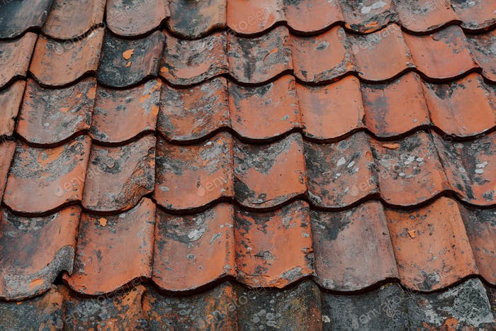 Texture weathered detail on old, tile roof