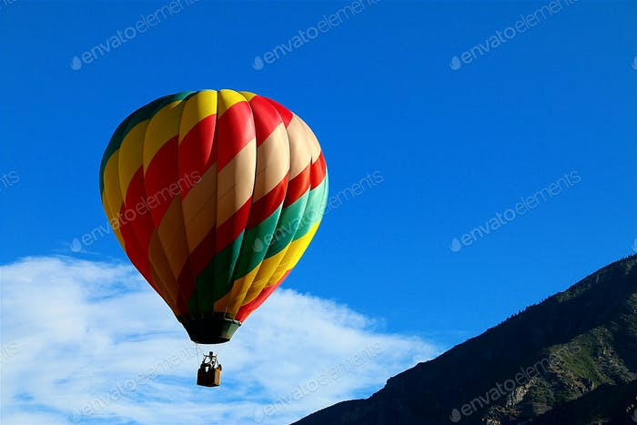 Color image of hot-air-balloon in flight