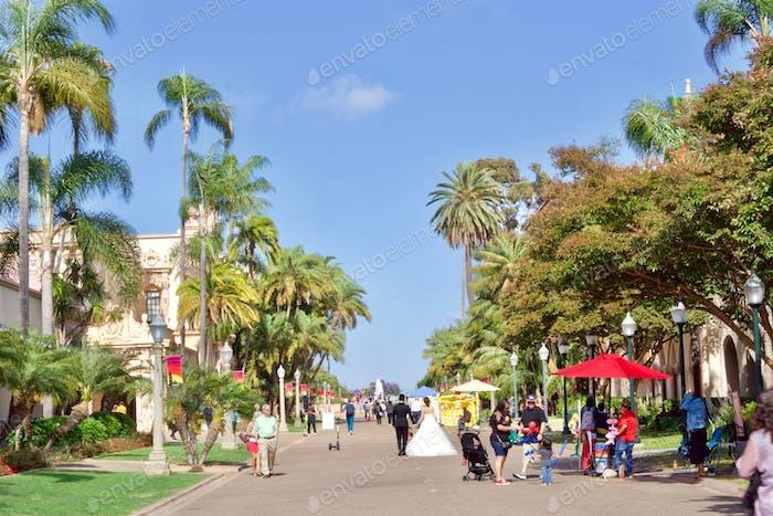 Walking through Balboa Park in San Diego, California