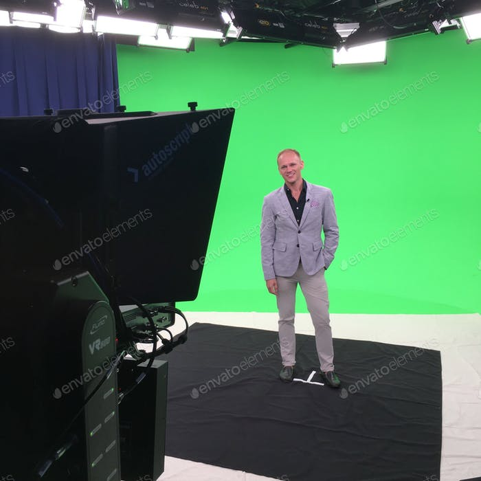Television Studio green screen interview at work