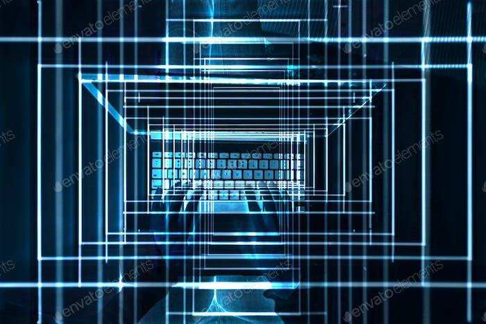 Manos en el ordenador portátil, luces brillantes y números, visualización de datos